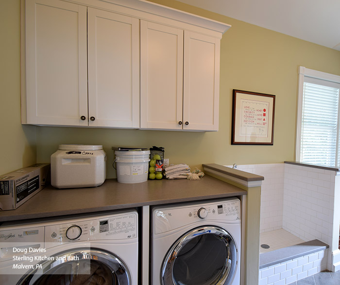 Laundry Room With White Wall Cabinets In The Brellin Laminate Door Style ...