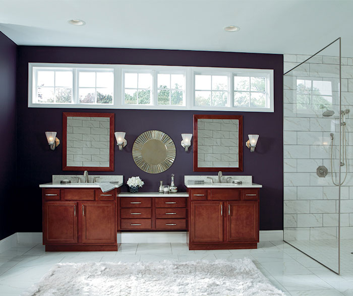 Birch cabinets in casual bathroom by Aristokraft Cabinetry