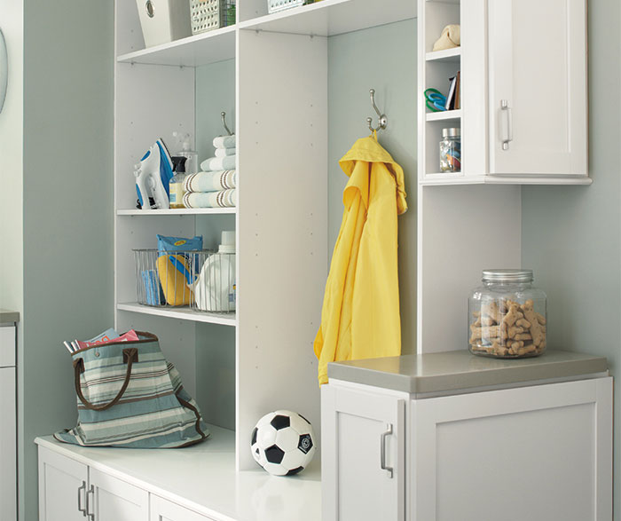 Laundry Room Cabinets in Painted White