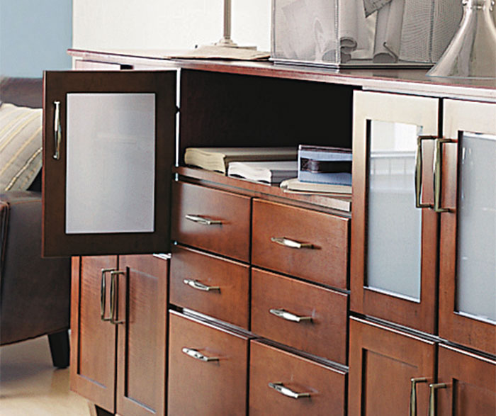 Shaker style cabinets in office by Aristokraft Cabinetry