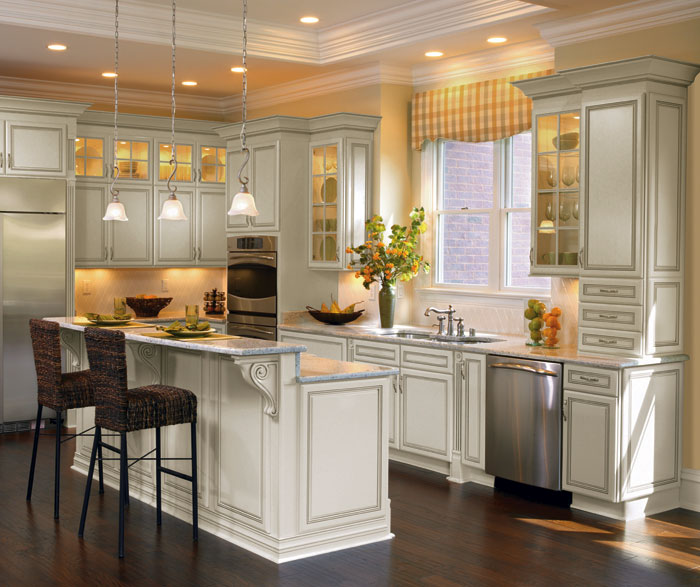 Off White Cabinets with Glaze - MasterBrand