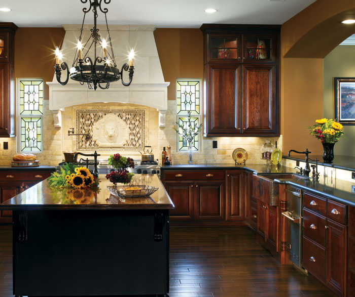 Dark Cherry Cabinets in a Traditional Kitchen