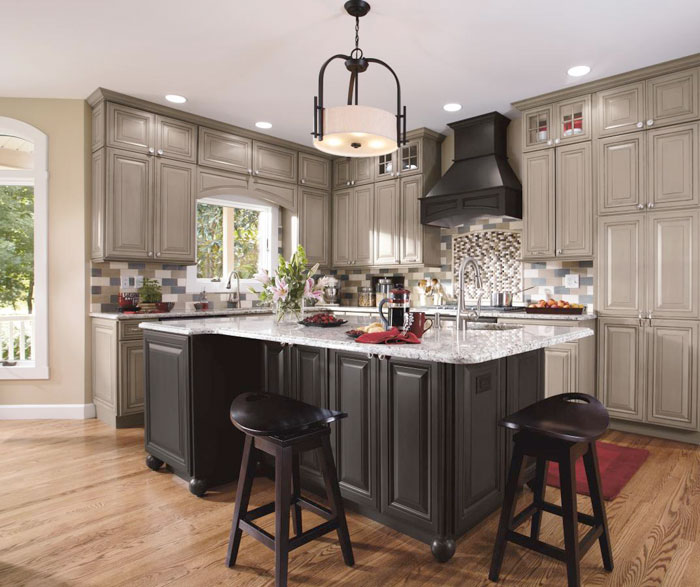 Love The Colours In This Kitchen Raspberry Paint Walnut: Gray Kitchen Cabinets