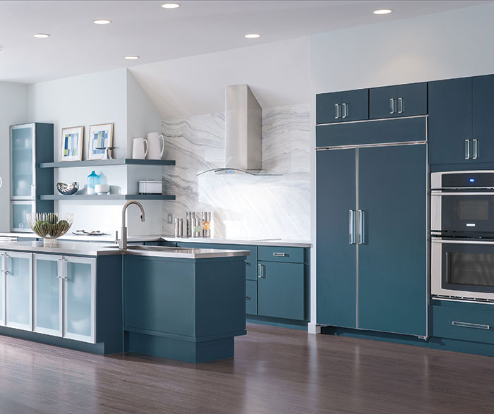 Off White Cabinets With A Blue Kitchen Island Masterbrand