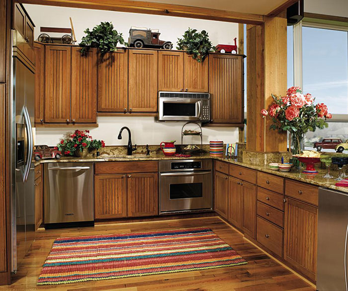 Beadboard Cabinets in a Rustic Kitchen