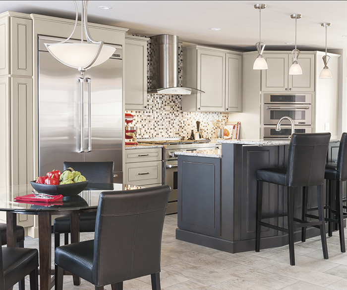 Light gray Anden kitchen cabinets in dover grey stone with dark gray island in storm