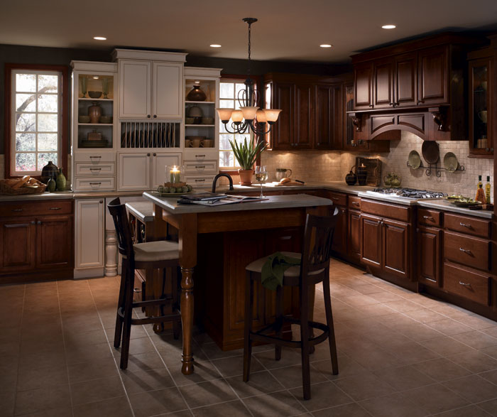 Red Cherry Wood Kitchen Cabinets: Cherry Wood Kitchen Cabinets With Laminate Accents