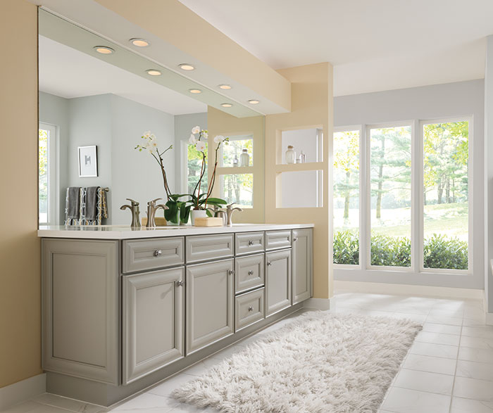 use kitchen cabinets in bathroom gray cabinets in a casual bathroom masterbrand 8767