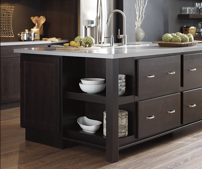 Dark Finish Modern Kitchen Cabinets