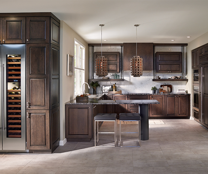 Transitional Kitchen with Cherry Cabinets