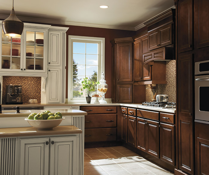 Dark Maple Kitchen Cabinets with Ivory Accents - MasterBrand