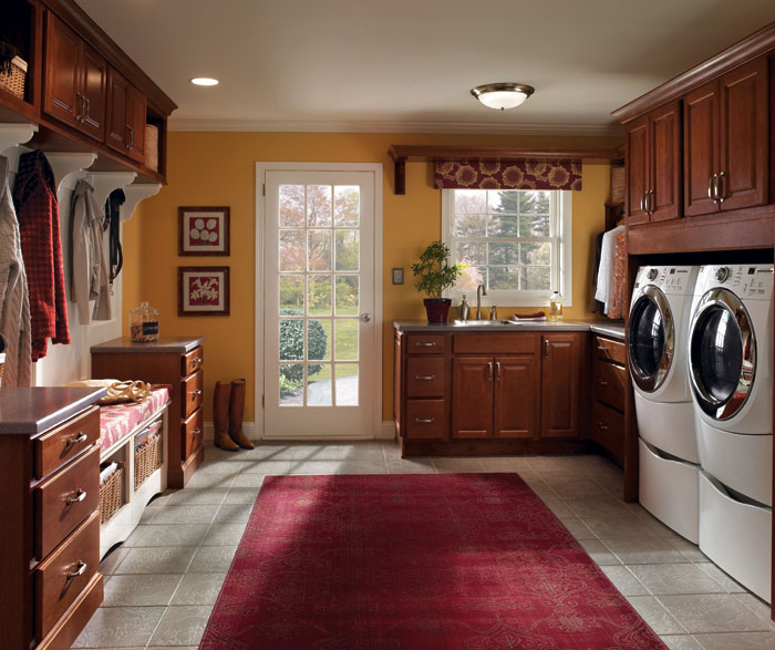 Laundry room and entry way cabinets by Homecrest Cabinetry