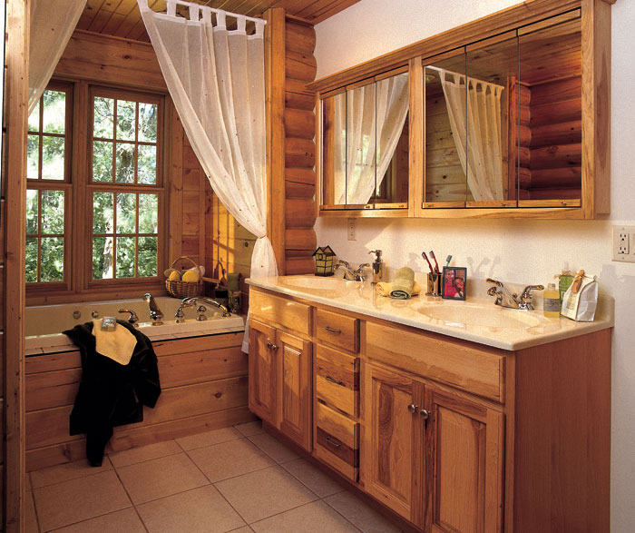 Natural Hickory Cabinets In A Rustic Bathroom Masterbrand