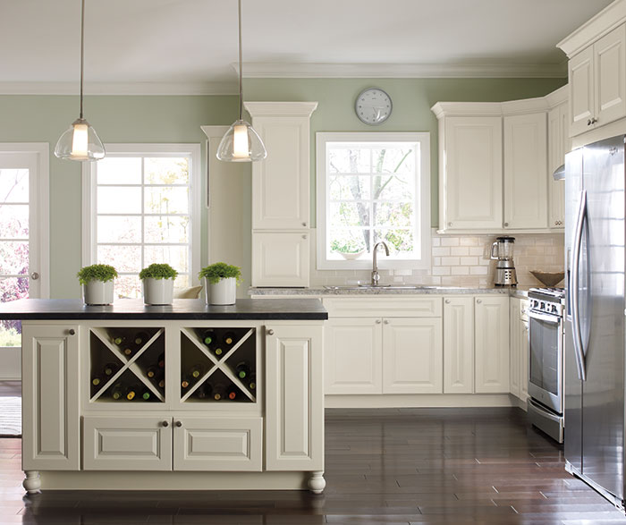 White Kitchen Cabinets Light Floor: Off White Painted Kitchen Cabinets In French Vanilla