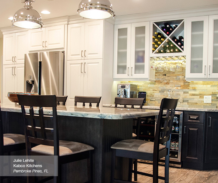 Black Kitchen Island With White Cabinets: Off White Cabinets With A Dark Kitchen Island