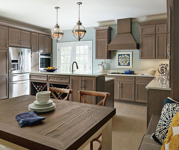 ... Gray Cabinets In A Casual Kitchen By Homecrest Cabinetry ...