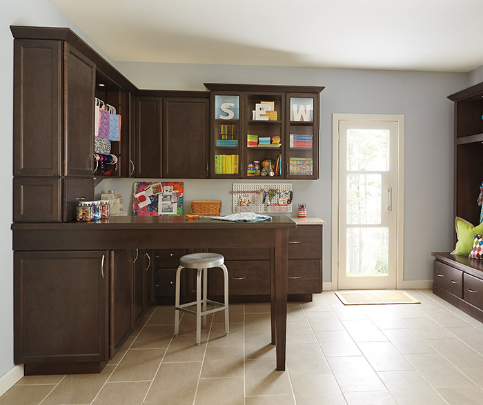 High Quality Dark Maple Craft Room Cabinets By Kemper Cabinetry