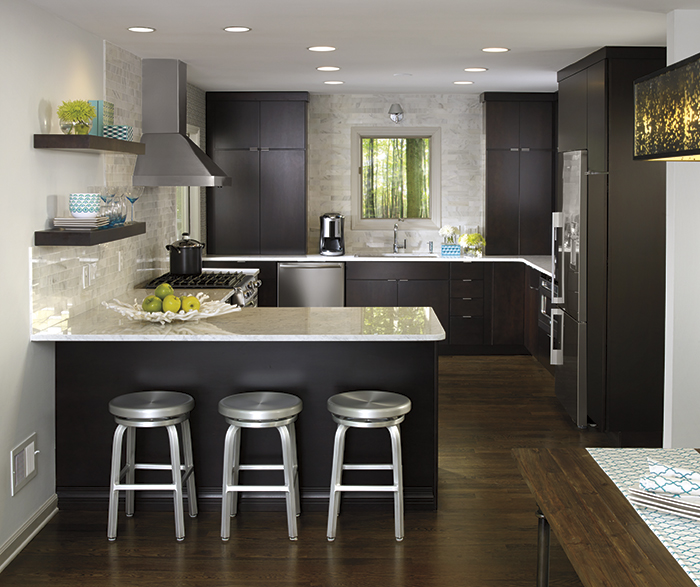 Dark Wood Cabinets in a Contemporary Kitchen - MasterBrand