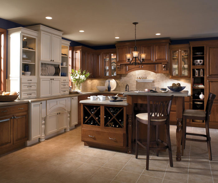 Kitchen Ideas Cherry Colored Cabinets: Cherry Wood Cabinets With Two Level Kitchen Island