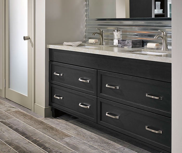 Awesome Dark Gray Cabinets In A Casual Bathroom Masterbrand Interior Design Ideas Gresisoteloinfo