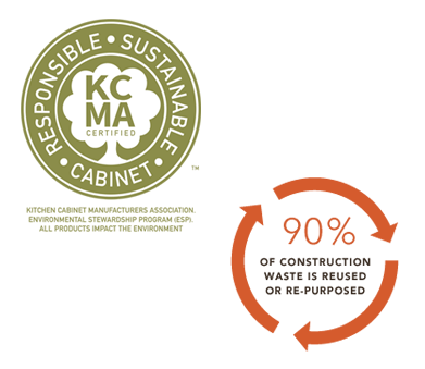 Image of KCMA ESP logo and graphic of recycled construction content