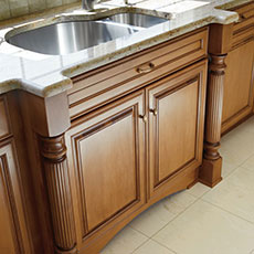 Cabinet legs on a sink base cabinet