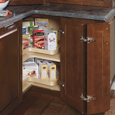 corner base cabinet with lazy susan installed