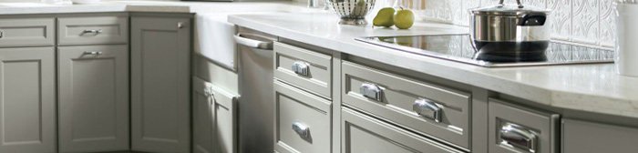 Gray painted base cabinets in a kitchen