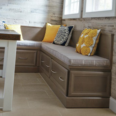 Window seat comprised of drawer base cabinets