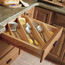 Cabinet drawer with Cooking Utensil Divider installed