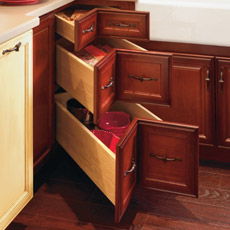 Corner drawer cabinet with all three drawers opened