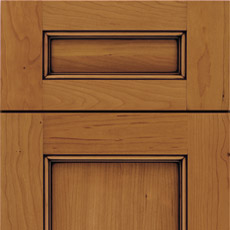 Close-up of cabinet door with 5-piece drawer front