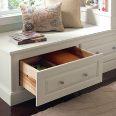 Furniture drawer cabinet used as a window seat