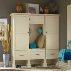 Entry way cabinets in an off white cabinet paint