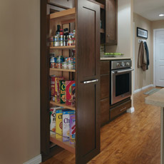 Tall Pantry Pullout Cabinet pulled opened to show storage capabilities