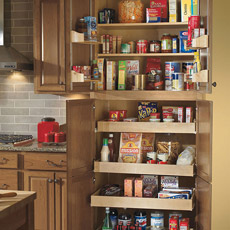 Tall Pantry Super Cabinet with doors open to show interior storage