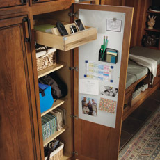 Utility Drop Zone Cabinet with door open to show whiteboard and interior storage