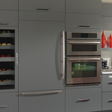 Tall cabinets with wine storage, refrigerator panels and a double oven cabinet