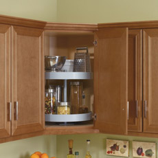 Wall corner cabinet with lazy susan installed