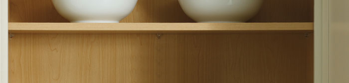 Close up of the inside of a cabinet with shelving