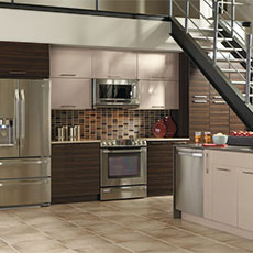 Full room shot of engineered wood cabinets shown in kitchen