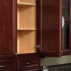 Close up of a framed cabinet with door open