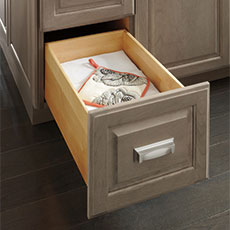 Frameless cabinet drawer opened