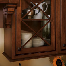 Close Up Of An Inset Cabinet With Glass Door