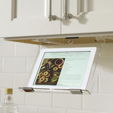 Under-cabinet tablet holder