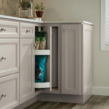 Lazy Susan Cabinet in kitchen with light gray cabinets