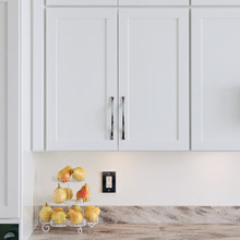 White wall cabinet in kitchen