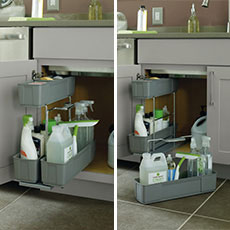 Images of bathroom cabinet cleaning caddy