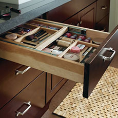 Open Vanity Cabinet Drawer With Organizers