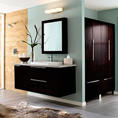 wall hung vanity and storage cabinet in contemporary bathroom - Bathroom Cabinets Ideas